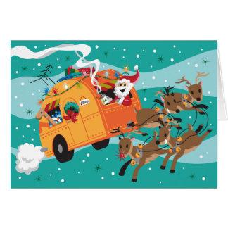 Tarjeta de Navidad retra del viaje del día de