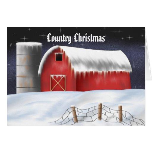 Tarjeta de Navidad roja adaptable del granero
