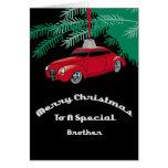Tarjeta de Navidad roja de Brother Hotrod