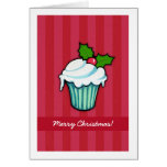Tarjeta de Navidad roja de la magdalena del acebo