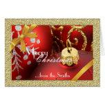 Tarjeta de Navidad roja de los ornamentos del navi