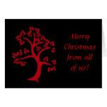 Tarjeta de Navidad roja del árbol