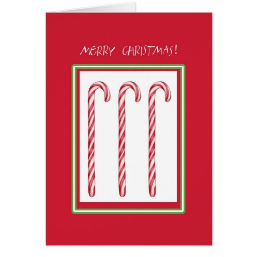 Tarjeta de Navidad roja del bastón de caramelo