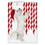 Tarjeta de Navidad roja, del blanco y de los zigza