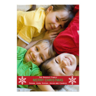 Tarjeta de Navidad roja del copo de nieve de la ci Invitacion Personal