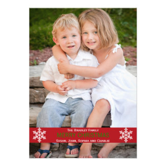 Tarjeta de Navidad roja del copo de nieve de la ci Invitacion Personalizada