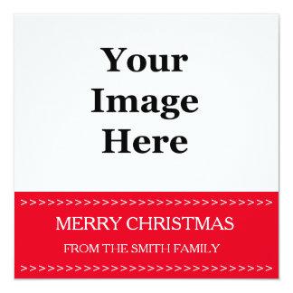 """Tarjeta de Navidad roja del cuadrado de la foto. Invitación 5.25"""" X 5.25"""""""