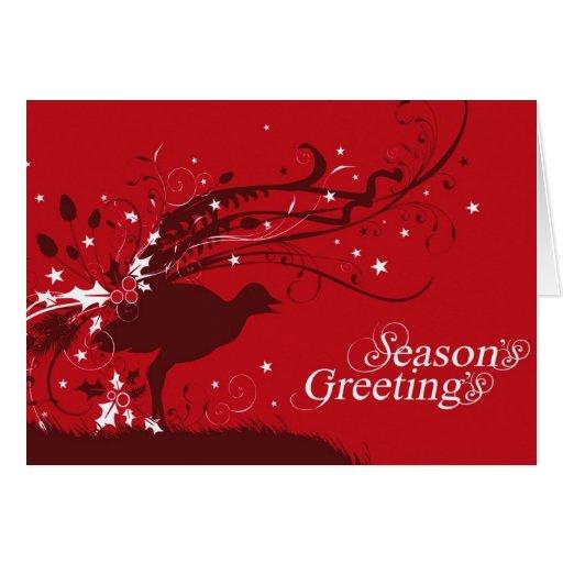 Tarjeta de Navidad roja del lyrebird gráfico