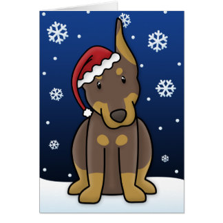 Tarjeta de Navidad roja del Pinscher del Doberman