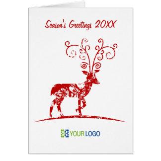 Tarjeta de Navidad roja del reno de Corporate Logo