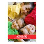 Tarjeta de Navidad roja intrépida de la cinta Comunicado Personalizado