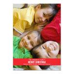 Tarjeta de Navidad roja intrépida de la cinta Invitación 12,7 X 17,8 Cm