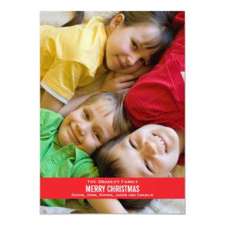 """Tarjeta de Navidad roja intrépida de la cinta Invitación 5"""" X 7"""""""