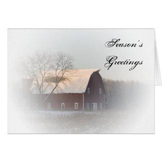 Tarjeta de Navidad roja nevada del negocio del gra