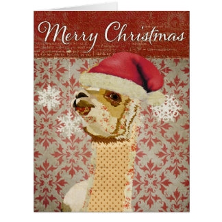 Tarjeta de Navidad roja retra de la alpaca del oro