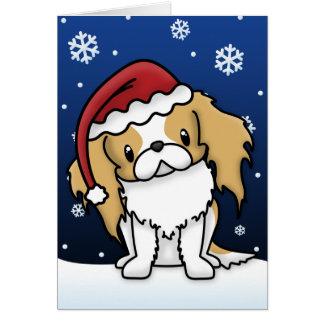 Tarjeta de Navidad roja y blanca de Kawaii del jap