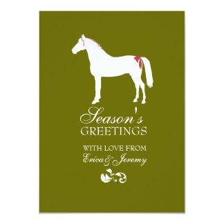 Tarjeta de Navidad roja y verde del damasco del Comunicados Personalizados