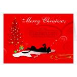 Tarjeta de Navidad - rojo negro del perro de