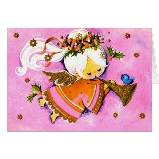 Tarjeta de Navidad rosada del ángel de los años 50