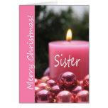 Tarjeta de Navidad rosada del ornamento de la herm