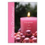 Tarjeta de Navidad rosada del ornamento de la nuer
