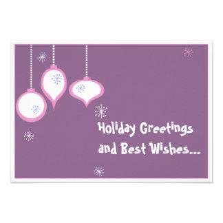 Tarjeta de Navidad rosada retra Comunicado