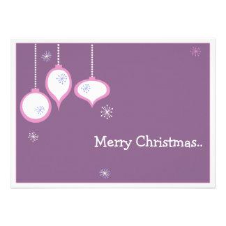 Tarjeta de Navidad rosada retra Invitacion Personalizada