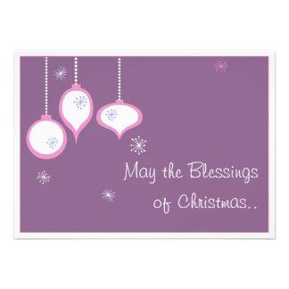 Tarjeta de Navidad rosada retra Invitación Personalizada