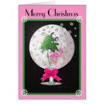 Tarjeta de Navidad rosada tropical del globo de la