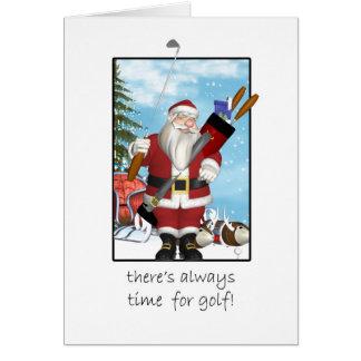 Tarjeta de Navidad, Santa que juega a golf