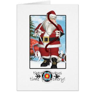 Tarjeta de Navidad, Santa que juega a tiro al arco