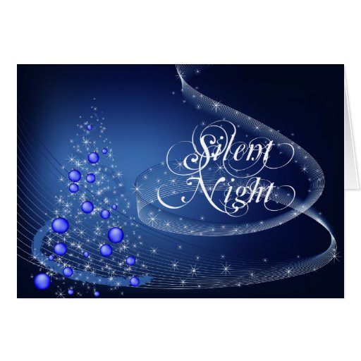 Tarjeta de Navidad silenciosa azul de encargo de l