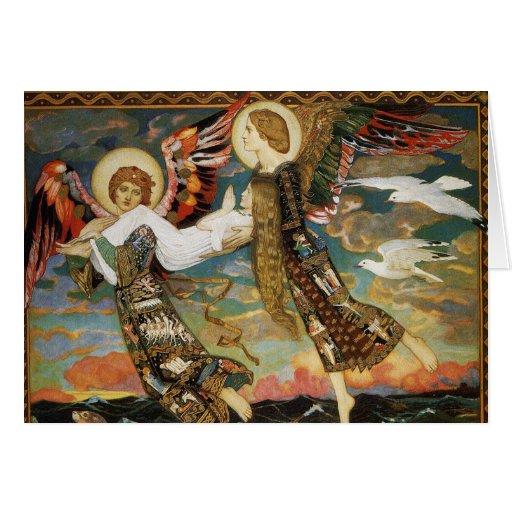Tarjeta de Navidad: St. Novia llevada por ángeles