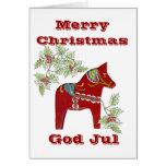 Tarjeta de Navidad sueca del caballo de Dala