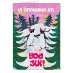 Tarjeta de Navidad sueca - pingüinos patinadores