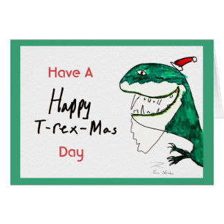 Tarjeta de Navidad T-Rex-Mas