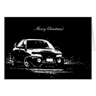Tarjeta de Navidad temática del coche de EVO IX