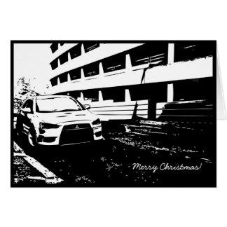Tarjeta de Navidad temática del coche de EVO X