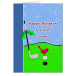 Tarjeta de Navidad temática del golf para el abuel