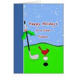 Tarjeta de Navidad temática del golf para el papá