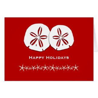 Tarjeta de Navidad temática tropical roja y blanca