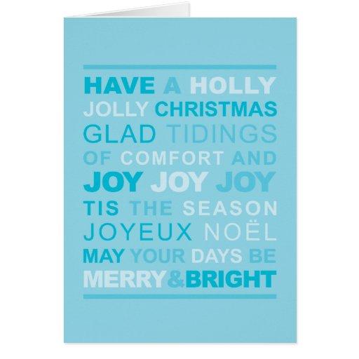 Tarjeta de Navidad tipográfica azul claro
