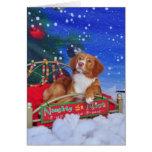 Tarjeta de Navidad tocante del perro perdiguero de