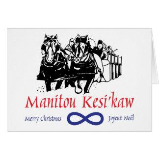 Tarjeta de Navidad tradicional de Metis Sleighride