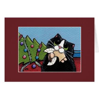 Tarjeta de Navidad traviesa del ángel el   del gat