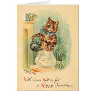 Tarjeta de Navidad traviesa del gatito del vintage