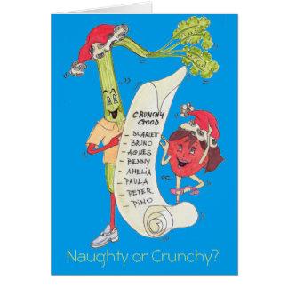 "Tarjeta de Navidad ""traviesa o crujiente"" azul"