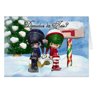 Tarjeta de Navidad traviesa o Niza en Galés, Direu