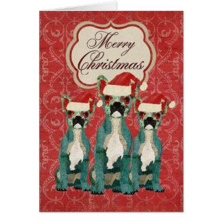Tarjeta de Navidad tres de los dogos franceses