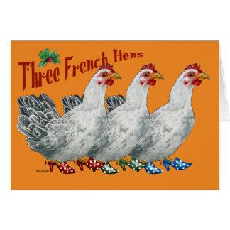 Tarjeta de Navidad tres francesa de las gallinas